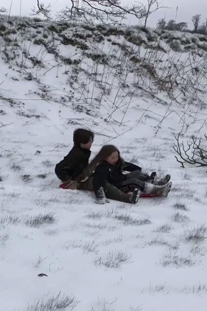 Дэвид Бекхэм вывез детей в лес и спустил их со снежной горки! Фото