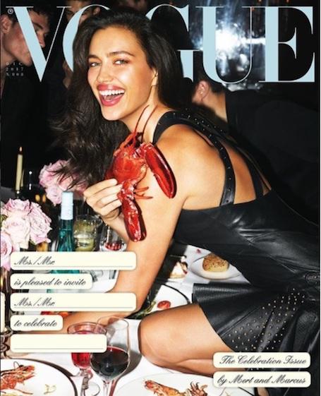 Ирина Шейк в кожаном мини-платье обнималась с омаром прямо на праздничном столе! Фото