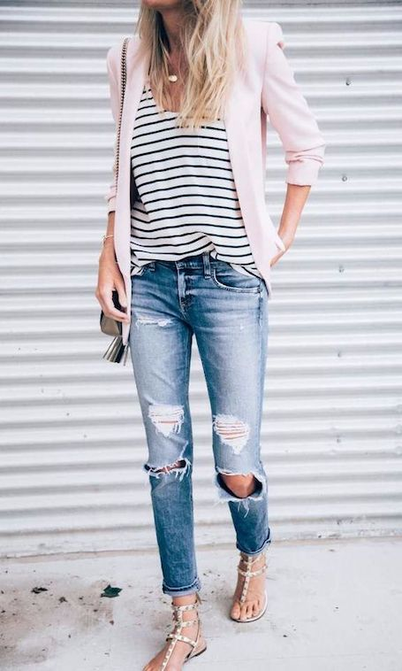 Дюжина модных образов для лета с джинсами бойфренда. Фото