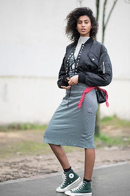 Звездный тренд: как носить колготки в сетку? Фото