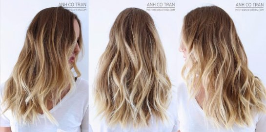 Калифорнийское мелирование на русых волосах
