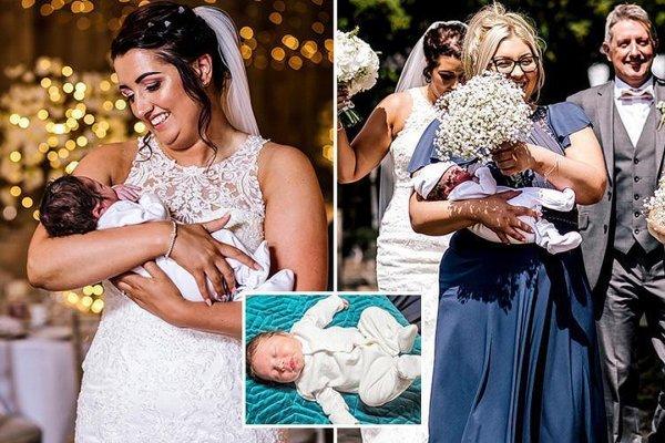 Британка через несколько часов после родов пошла на свою свадьбу