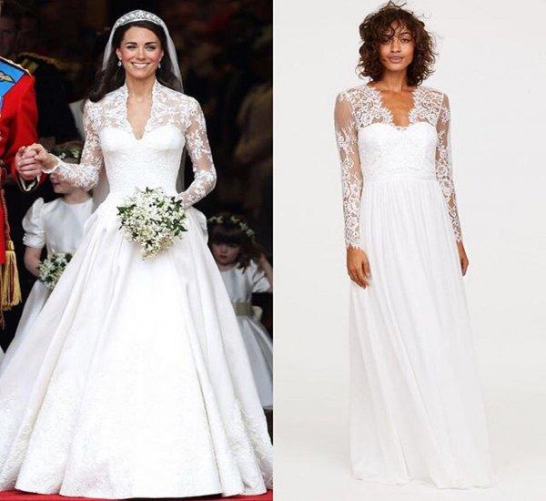 Компания H&M выпустила бюджетную копию свадебного платья Кейт Миддлтон