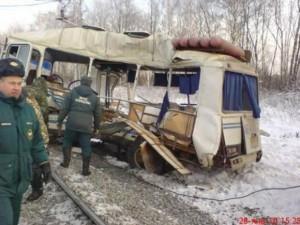 Столновение автобуса с локомотивом в Рязанской области